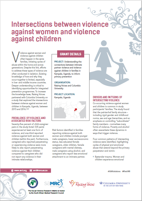 Intersections between violence against women and violence against children