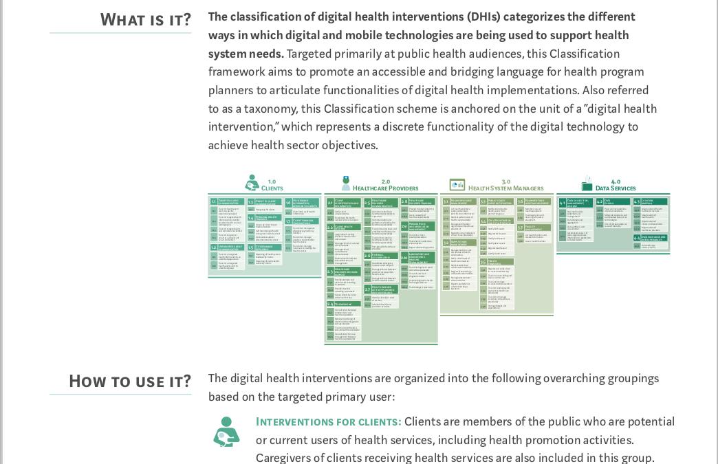 Classification of digital health interventions