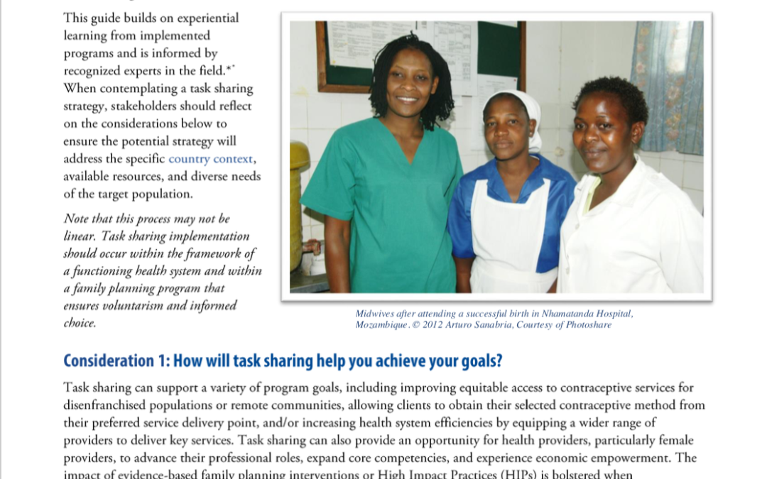 Task Sharing Family Planning Services to Increase Health Workforce Efficiency and Expand Access